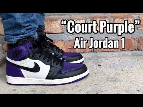 "0fc0ab555c5 Air Jordan 1 ""Court Purple"" on Feet - YouTube"