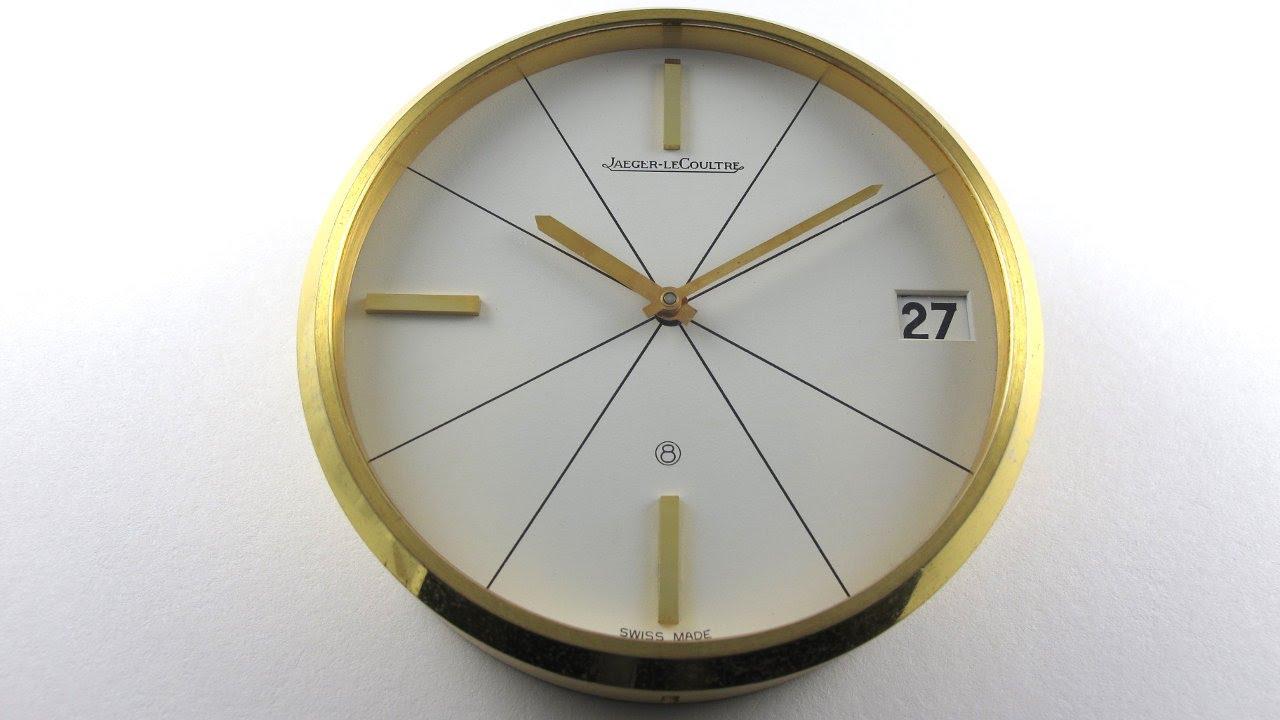 Gilt Brass Jaeger Lecoultre Ref 383 Vintage Desk Clock Circa 1960