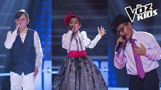 Andrés, Laura Camila y Tomás cantan El Triste - Batallas  La Voz Kids Colombia 2018 thumbnail