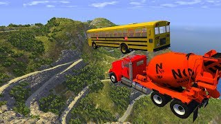 Heavy vehicle High Speed Jump Crashes From BIG Mountain in italy - BeamNG drive Jumps