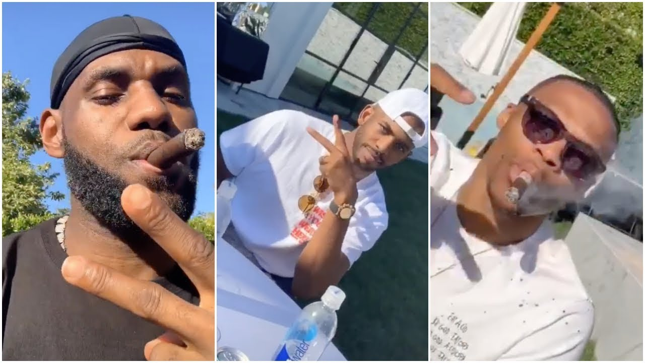 LeBron's listening to Nipsey Hussle at his crib with Russell Westbrook &  Chris Paul