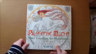 Alphonse Mucha, Make your own Masterpiece by Dairy Seal and David Jones Colouring Book Flip through