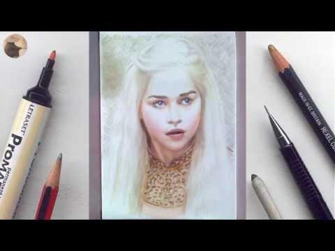 Emilia Clarke (Daenerys) miniature portrait timelapse WIP animation