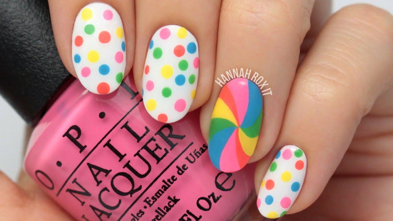 Candy Dot Lollipop Nail Art Youtube