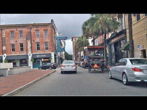 Driving Downtown - Savannah Georgia USA