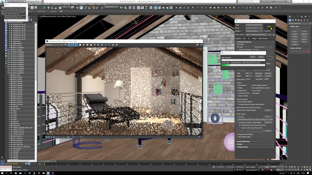 Kursus Privat Online Visualisasi Desain 3D Interior Dengan 3DS Max Vray Scene Siang Hari