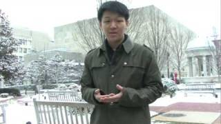 Business School Student Ike Patrick Yom gives a tour of the GWSB Campus