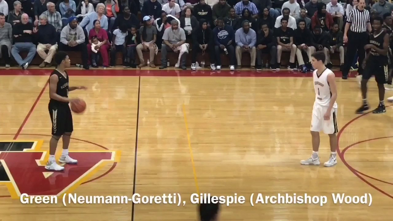 e759215e6d96 Collin Gillespie and Quade Green highlights when Archbishop Wood beat  Neumann-Goretti
