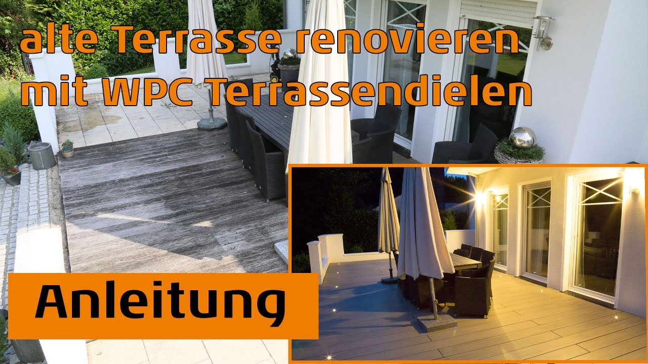 alte terrasse renovieren mit wpc terrassendielen youtube. Black Bedroom Furniture Sets. Home Design Ideas