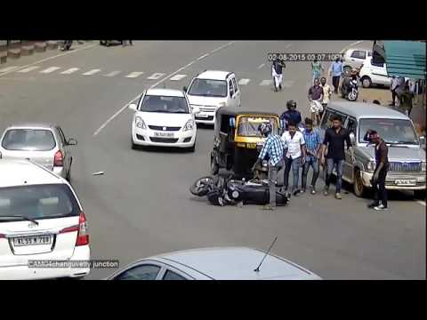 Sparsh CCTV captures a narrow escape by bike riders