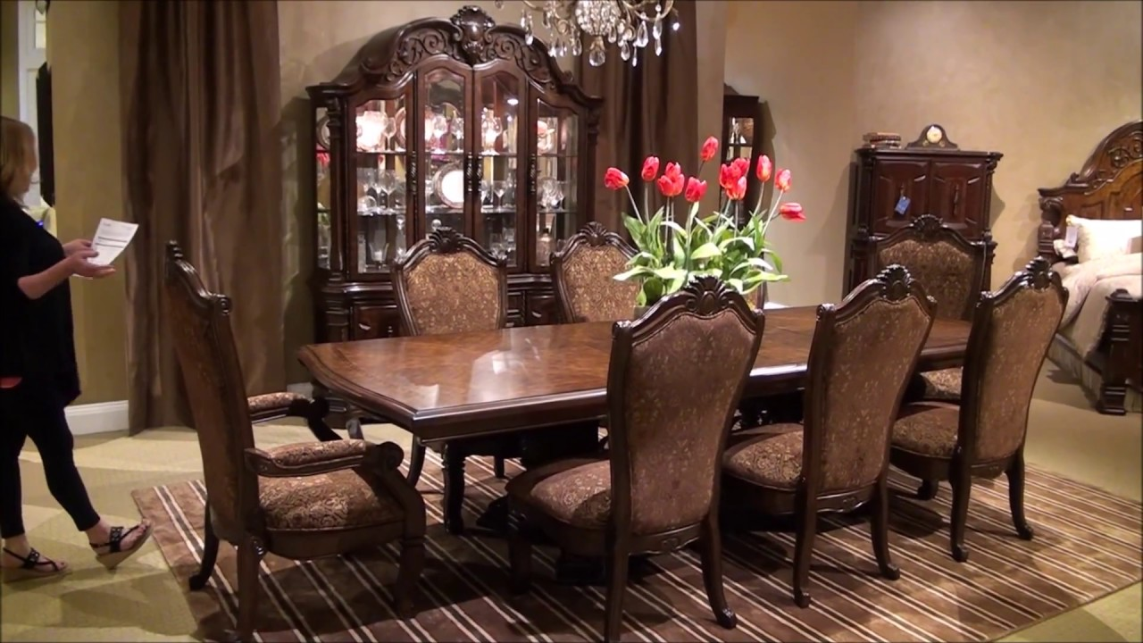 Windsor Court Trestle Dining Room Set by Michael Amini - YouTube