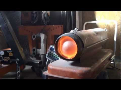 Converting a shop heater to run on waste oils