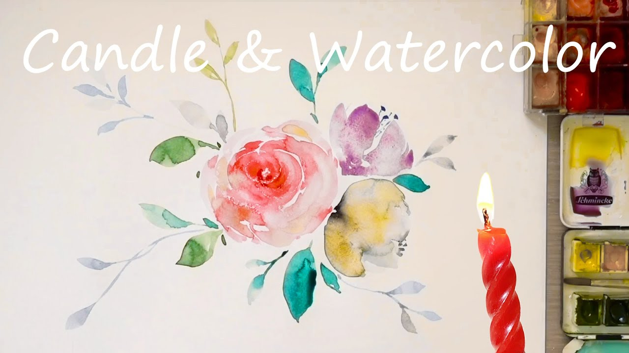 Watercolor flower painting / Candle / Wax resist technique