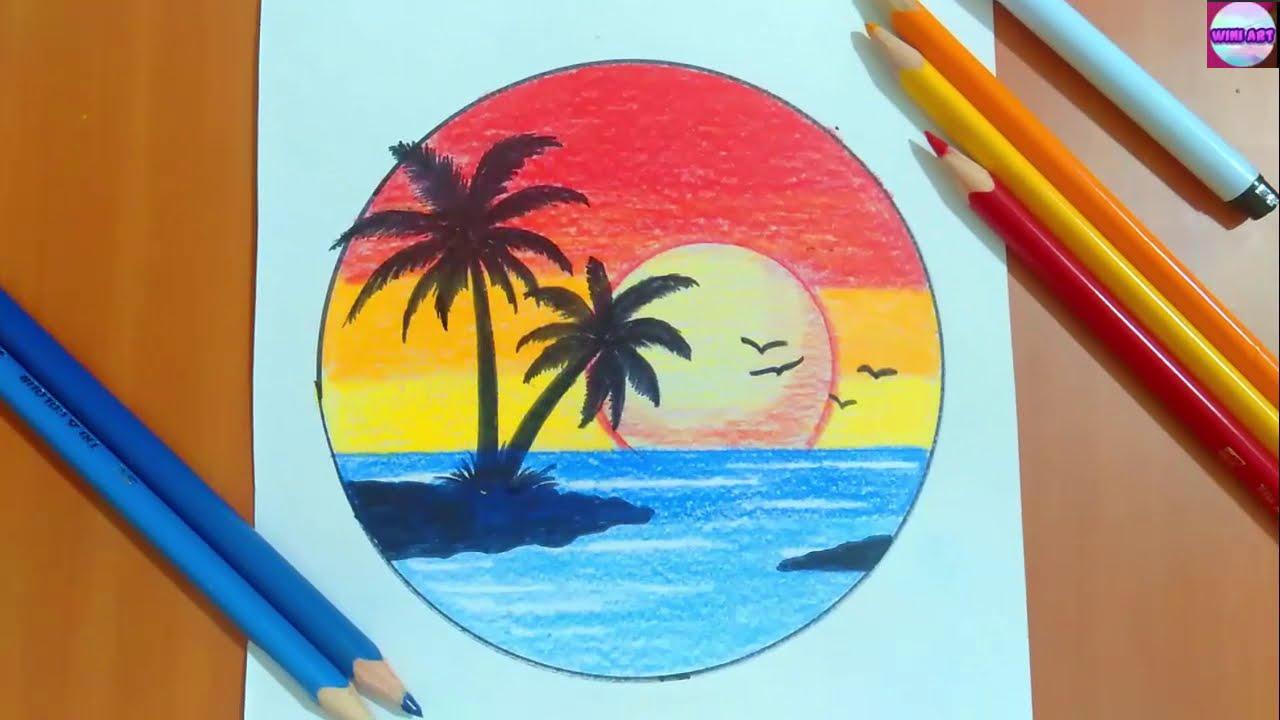 رسم منظر طبيعي سهل رسم منظر طبيعي بالالوان الخشبية رسم مناظر