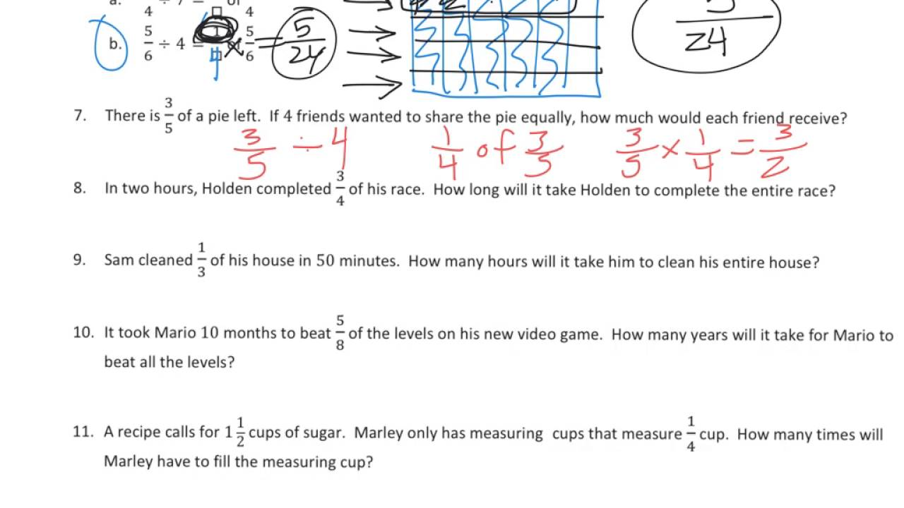More Division Stories (solutions, examples, worksheets, videos