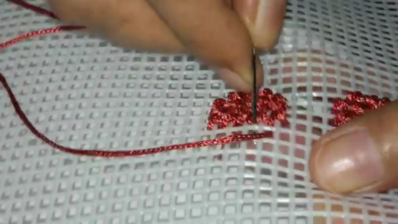 Hand Embroidery Cross Stitch Flower