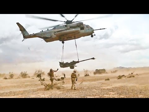 CH 53E Super Helicopter Transport Heavy Howitzer's and Marines | United States Marine Corps