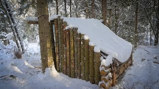Building a Fort in the Woods-Huge Snowfall!, Bushcraft Projects, Preparing for our Overnighter