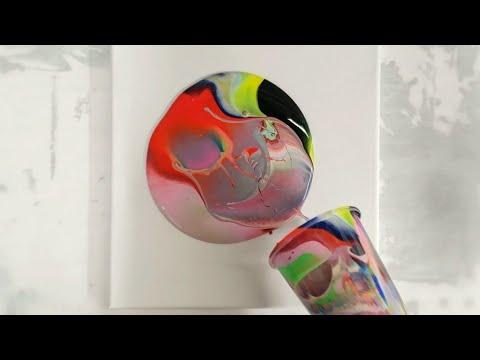 28 color acrylic pour flip cup with Arteza pouring paints
