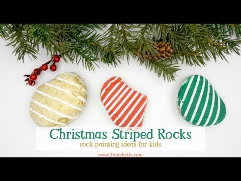 Christmas Rock Painting Designs.Christmas Striped Stones Easy Rock Painting Ideas