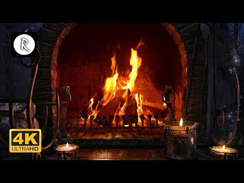 Crackling Fireplace w/ Rain & Thunder Sounds ( no wind ) - 10 Hours - 4K