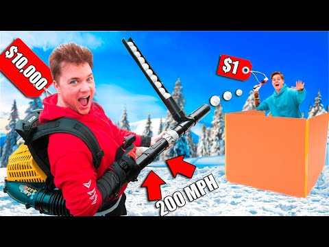 $1 vs $1000 Snowball Launcher Challenge! DIY Snowball Fight Vs Zombies