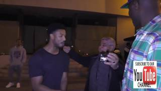 Michael B Jordan talks about being the next Jerry Bruckheimer outside Catch Restaurant in West Holly