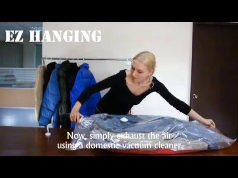 видео: Упаковка верхней одежды в вакуумный пакет 70х100 с вешалкой