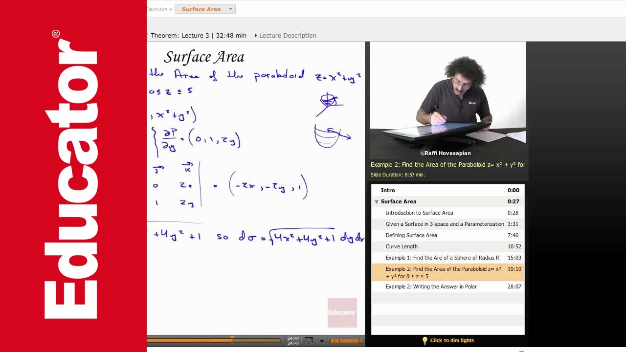 Multivariable Calculus: Surface Area Finding