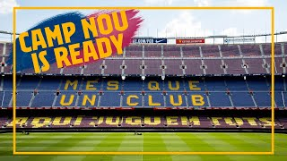 The camp nou and its surroundings reopen to public after 3 months. museum, barca store, all facilities carry out new measures for the...