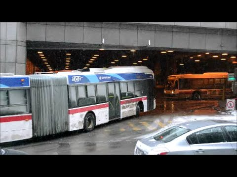 BUSES AT RUSH HOUR IN DOWNTOWN MONTREAL QC