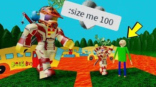 I GOT ADMIN COMMANDS IN BALDI'S BASICS OBBY!! and I became super giant | Roblox