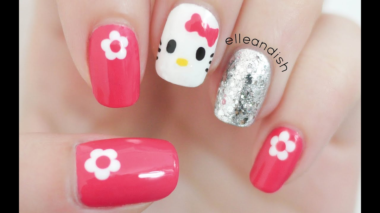 Easy Hello Kitty Nails (Freehand!) - YouTube