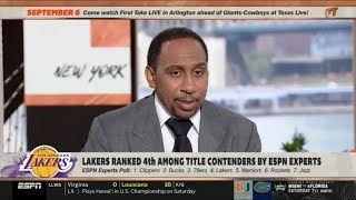 ESPN FIRST TAKE   Stephen A. Smith REACT to Lakers ranked 4th among title contenders by ESPN experts