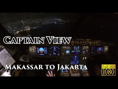 ( CAPTAIN VIEW - Ind ) Airbus A320 Makassar to Jakarta Night - by Vincent Raditya Batik Air