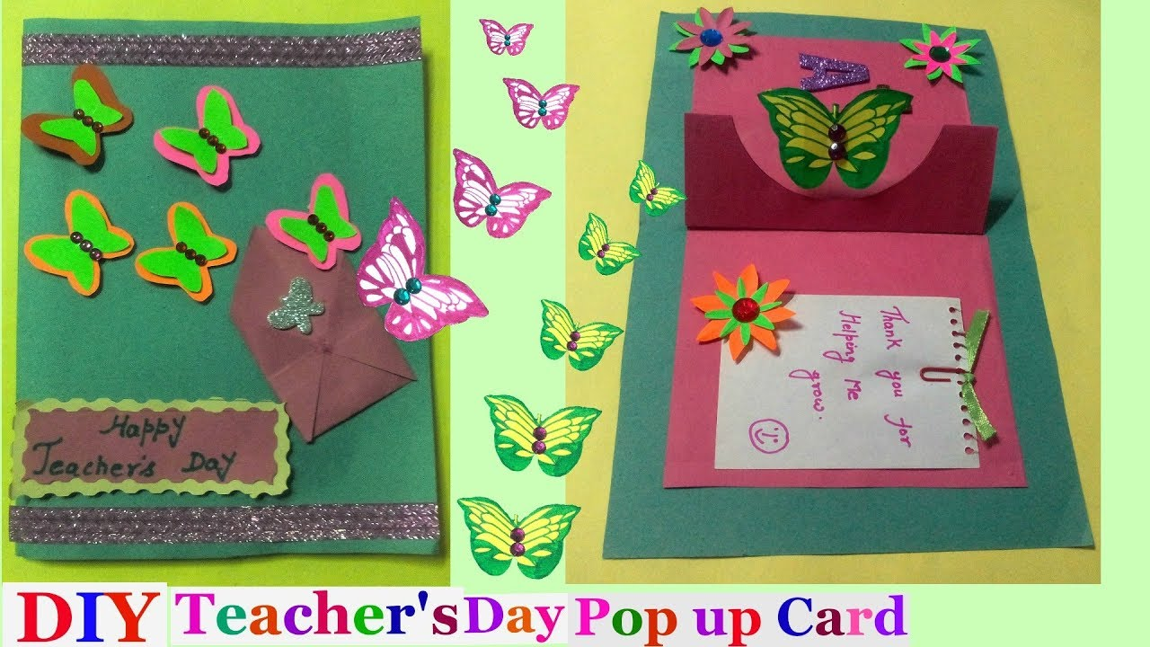 Pop Up Greeting Card Making Ideas Part - 34: Teachers Day Pop Up Cards Making Idea For Kids|butterfly Pop Up Cards | Pop  Up Greeting Cards-DIY