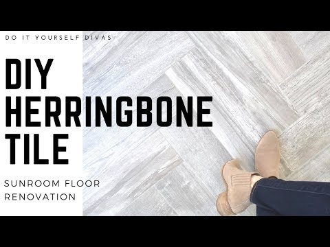 DIY Herringbone Tile Floor - Start to Finish