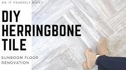 DIY Herringbone Tile Floor - Start to Finish