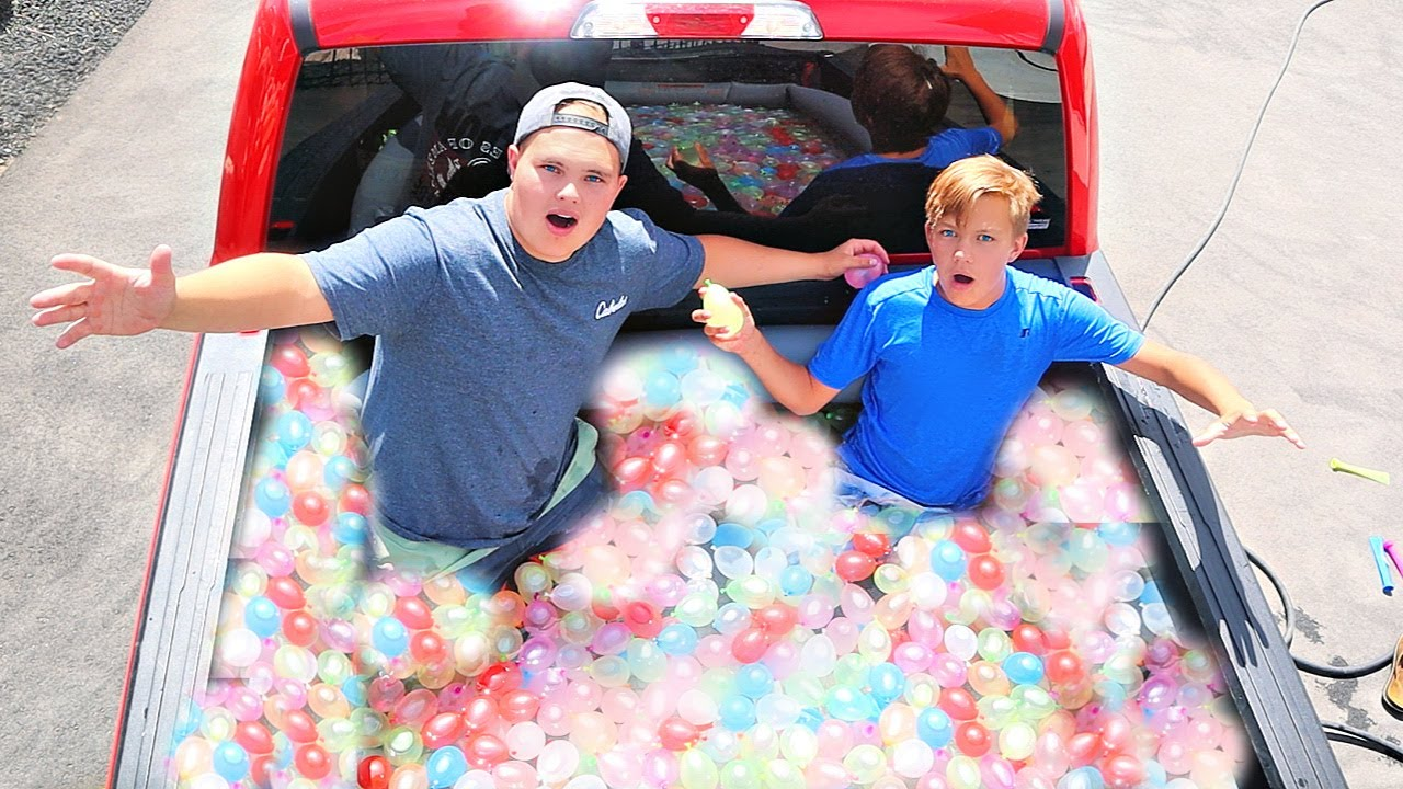 FILLED My Truck with WATER BALLOONS!