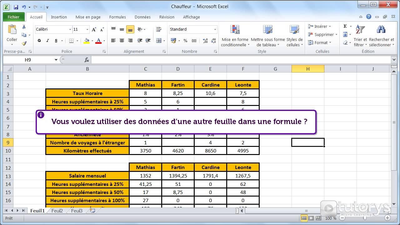 Comment Utiliser Des Donnees Sur Plusieurs Feuilles Excel 2010 Youtube