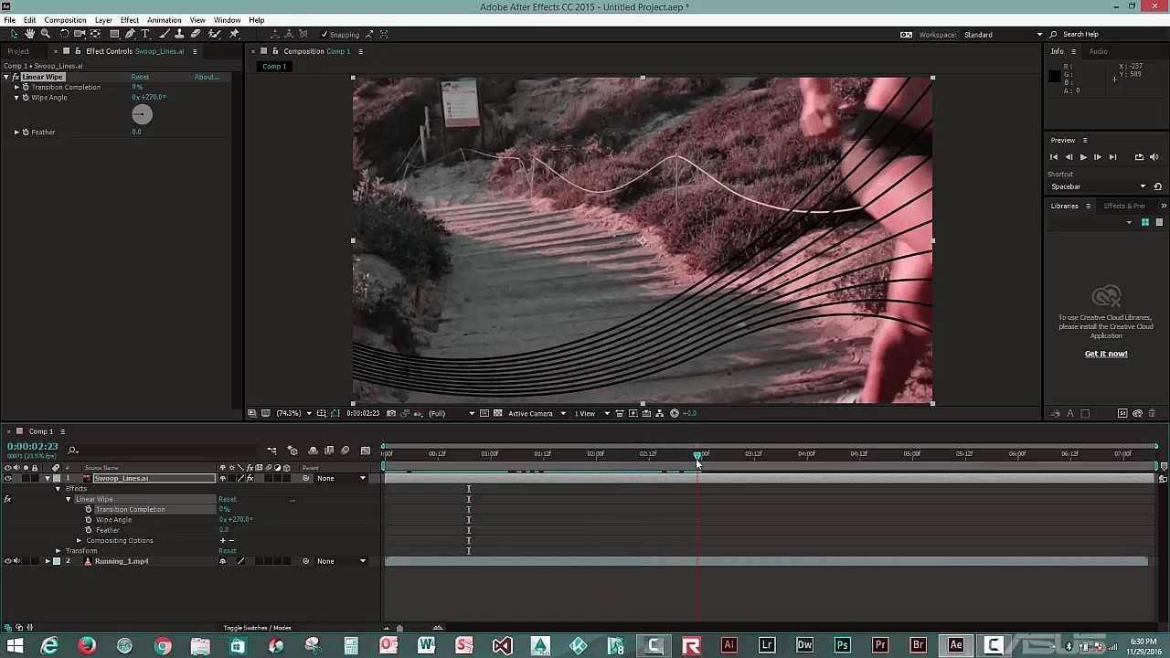Adobe After Effects Tutorial: How to create motion with swoop lines in  After Effects