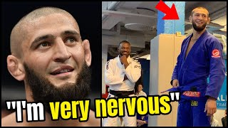 Khamzat Chimaev SURPRISED by coach - watch as UFC breakout star receives BJJ blue belt!