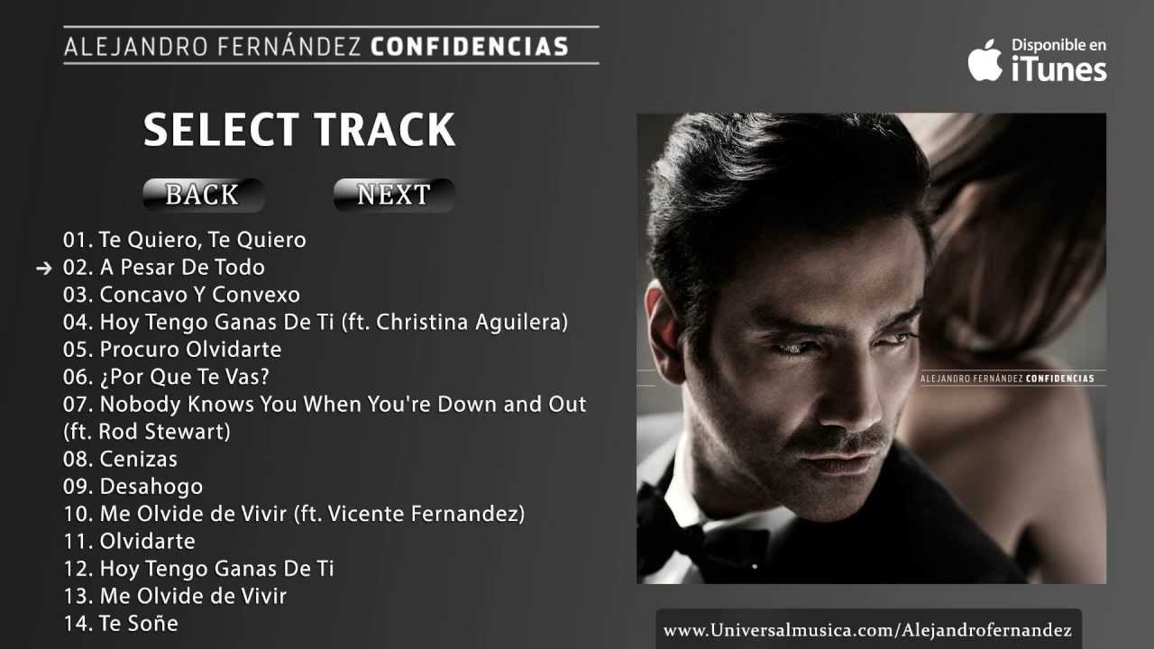 Alejandro Fernandez Confidencias Album Preview Youtube
