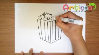 How to Draw Popcorn Step by Step for Kids