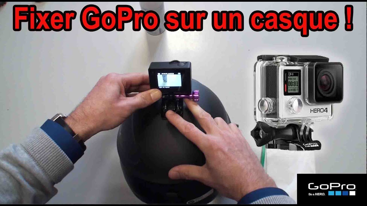 astuce n 24 fixation sur casque d 39 une gopro hero 4 silver youtube. Black Bedroom Furniture Sets. Home Design Ideas