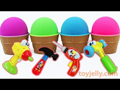 Learn Colors Kinetic Sand Ice Cream Surprise Cup Mickey Mouse Tool Baby Toys Play Doh Peppa Pig