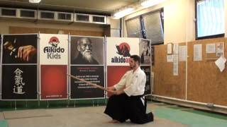 kihon tsuki hanmi suwatte- boken [TUTORIAL] basic Aikido weapon technique 合気剣