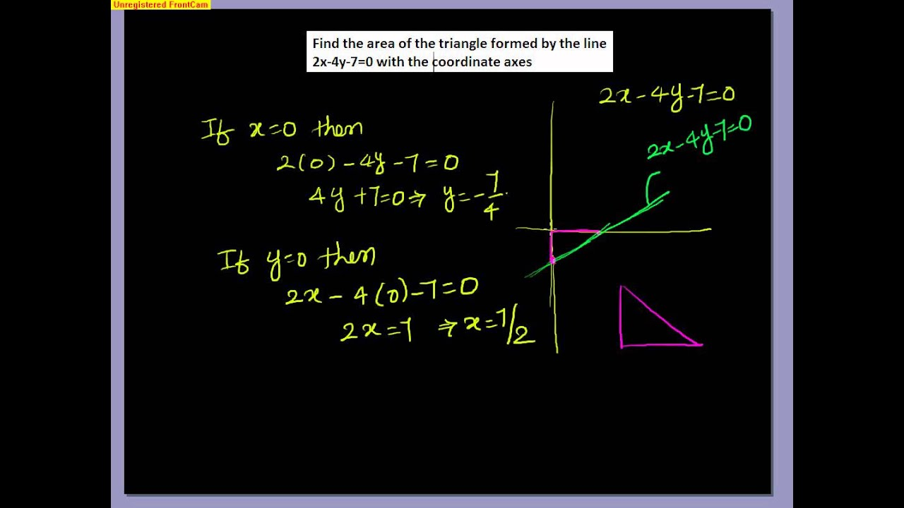Coordinate geometry area of triangle formed by xy axes and line coordinate geometry area of triangle formed by xy axes and line example loveteachingmaths ccuart Choice Image