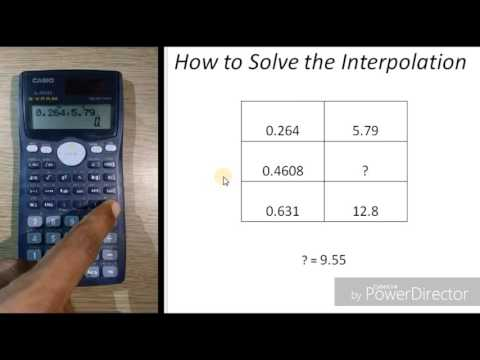 linear interpolation by casio fx 570ms scientific calculator by