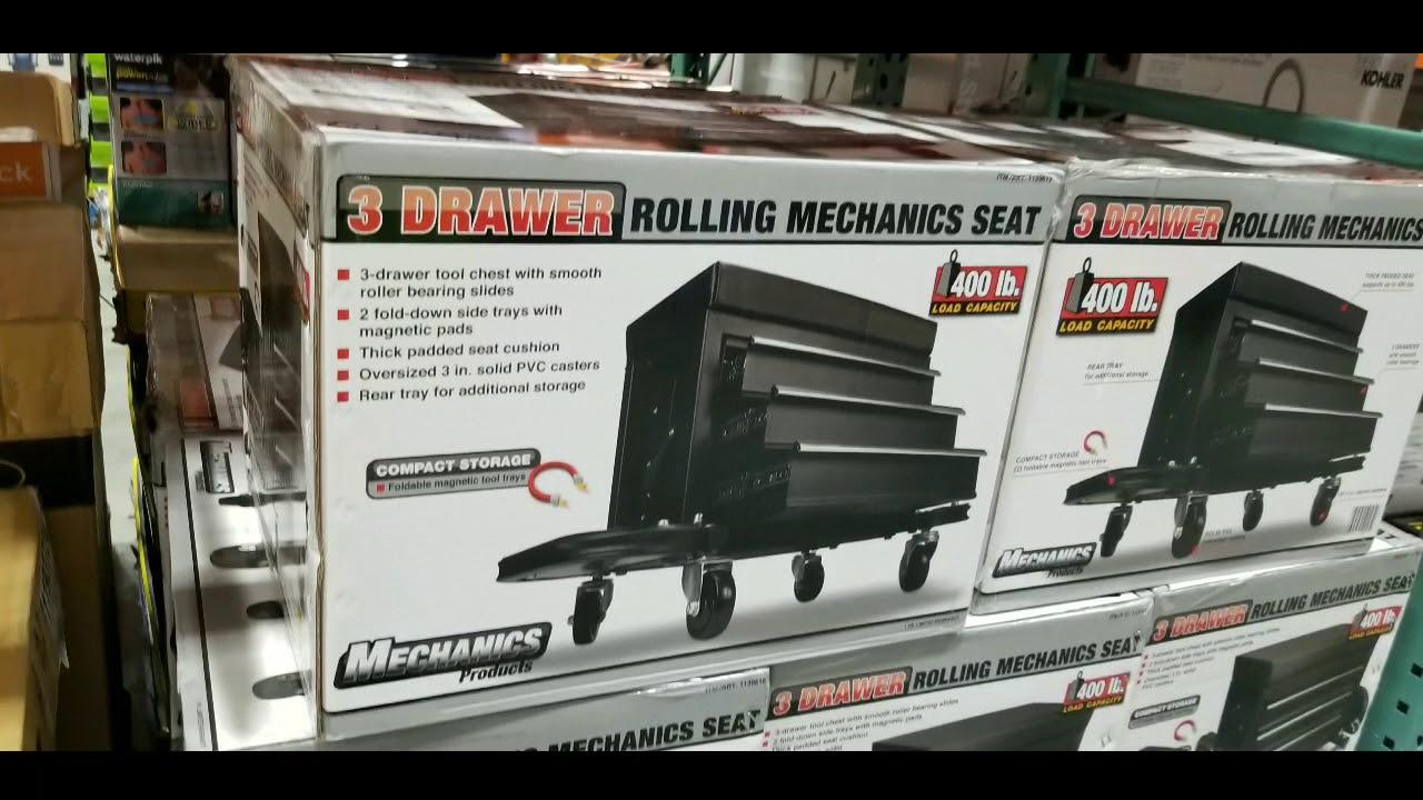 Costco 3 Drawer Rolling Creeper Tool Box Seat 59